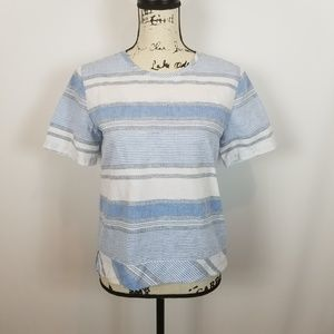 Lou & Grey XS Blue White Striped Blouse